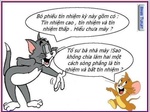 """Vài hôm tiếp theo, Quôc Hội khóa 13 đã """"phát minh"""" cách lấy phiếu tín nhiệm """"xăng pha nhớt"""" lạ đời.  Ngay đến Tom & Jerry cũng cãi nhau về cách lấy phiếu tín nhiệm ! He he..."""