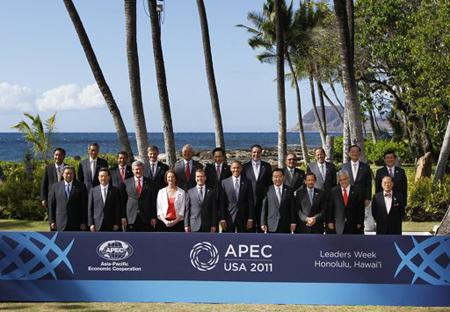 Chụp ảnh lưu nieejmcura các nguyên thủ APEC 11/2011 ở Hawaii