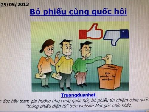 """Bỏ phiếu cùng quốc hội (25/5/2013) từ blog """"Góc nhìn khác"""".  Ngày hôm sau, Trương Duy Nhất bị bắt."""