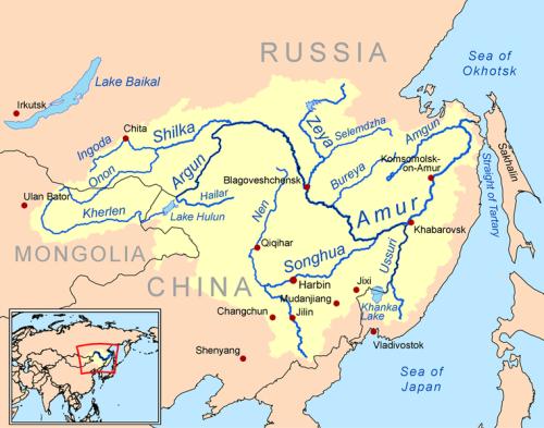 Lưu vực Hắc Long Giang (tức là sông Amur), khu vực biên giới Nga- Trung
