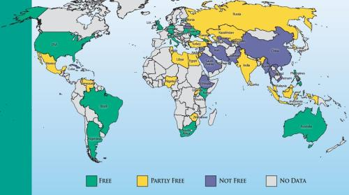Bản đồ về tự do internet trên toàn cầu  2012 và xu hướng 2013. (The state of Internet freedom in 2012. The 2013 assessment is expected to be worse. _Freedom House)