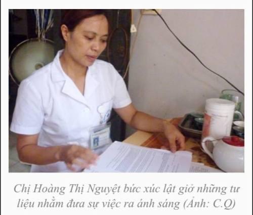 Chị Hoàng Thị Nguyệt, người dũng cảm đưa vụ việc ở Bệnh viện Hòa Đức ra công luận