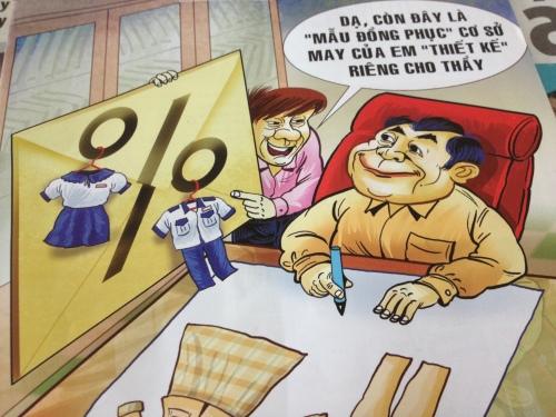 Vì sao đồng phục học sinh thay đổi và may mới liên tục?  (tranh trang bìa TTC, 15/9/2013)