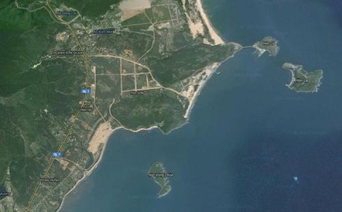 Mũi Rồng - Đảo Yến - Hòn La, nhìn từ vệ tinh (Google Map)
